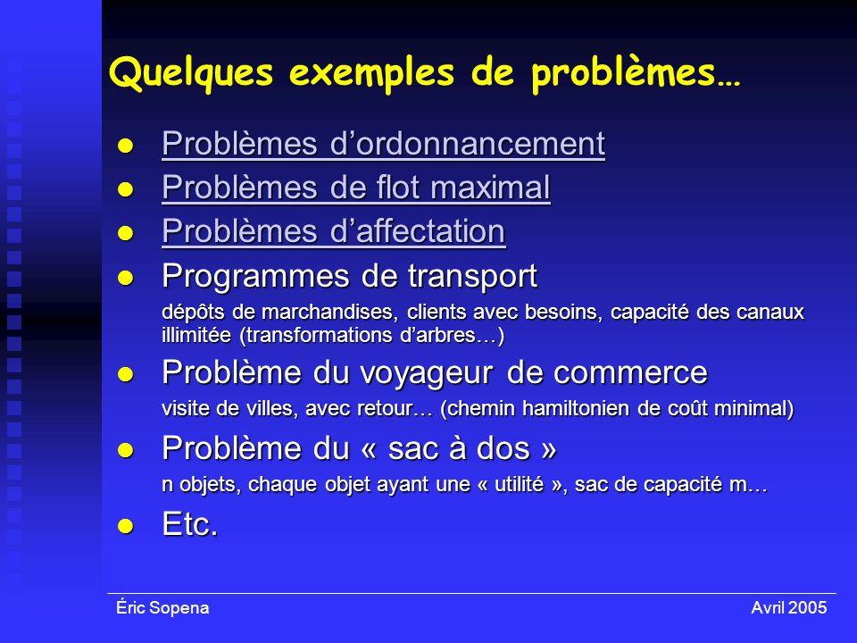 Éric SopenaAvril 2005 Quelques exemples de problèmes… Problèmes dordonnancement Problèmes dordonnancement Problèmes dordonnancement Problèmes dordonna