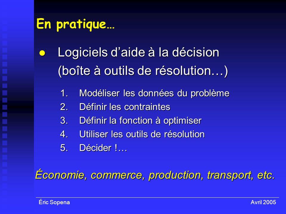 Éric SopenaAvril 2005 En pratique… Logiciels daide à la décision Logiciels daide à la décision (boîte à outils de résolution…) 1.Modéliser les données