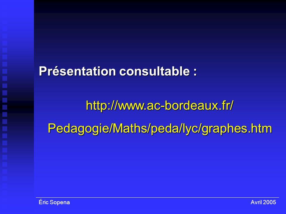 Éric SopenaAvril 2005 Présentation consultable : http://www.ac-bordeaux.fr/Pedagogie/Maths/peda/lyc/graphes.htm