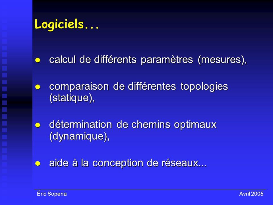Éric SopenaAvril 2005 Logiciels... calcul de différents paramètres (mesures), calcul de différents paramètres (mesures), comparaison de différentes to