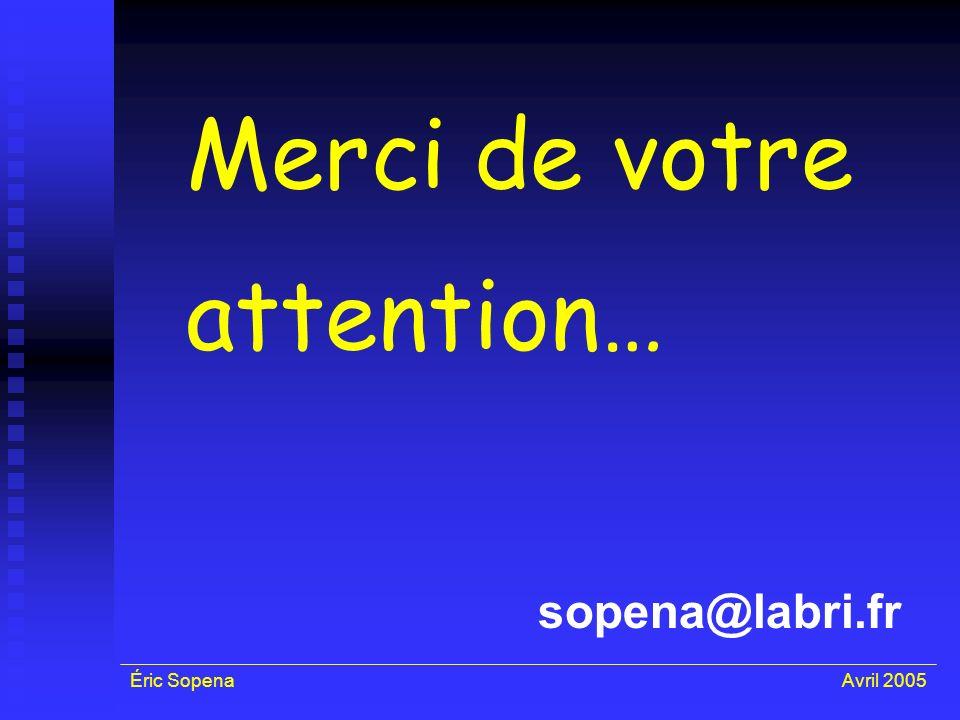 Éric SopenaAvril 2005 Merci de votre attention… sopena@labri.fr