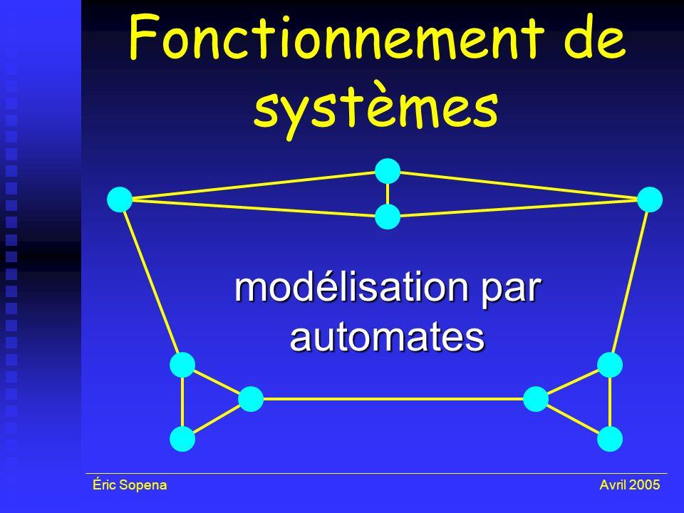 Éric SopenaAvril 2005 Fonctionnement de systèmes modélisation par automates