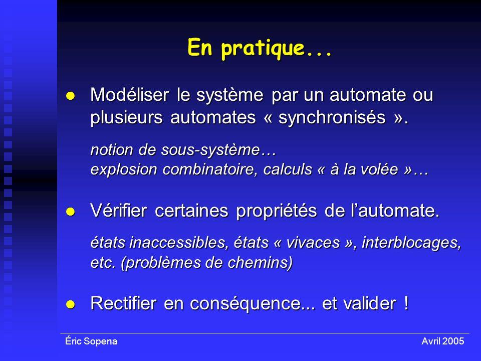 Éric SopenaAvril 2005 En pratique... Modéliser le système par un automate ou plusieurs automates « synchronisés ». Modéliser le système par un automat
