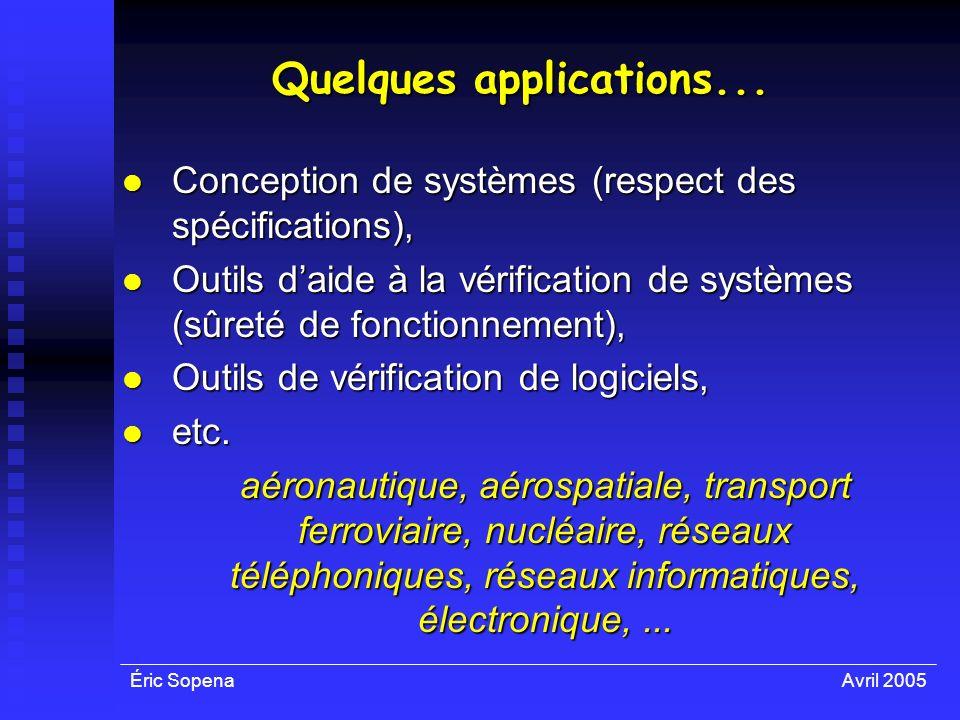 Éric SopenaAvril 2005 Quelques applications... Conception de systèmes (respect des spécifications), Conception de systèmes (respect des spécifications