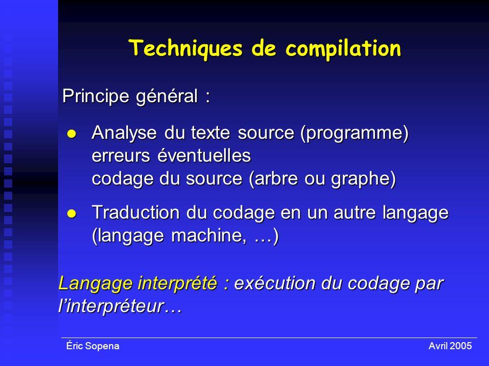 Éric SopenaAvril 2005 Techniques de compilation Principe général : Analyse du texte source (programme) Analyse du texte source (programme) erreurs éve