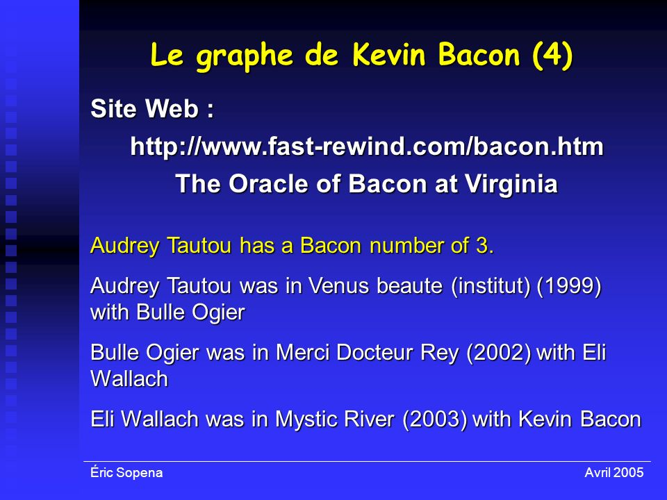 Éric SopenaAvril 2005 Le graphe de Kevin Bacon (4) Audrey Tautou has a Bacon number of 3. Audrey Tautou was in Venus beaute (institut) (1999) with Bul