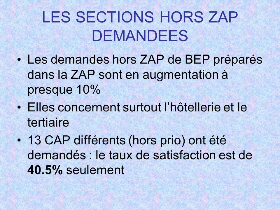 LES SECTIONS HORS ZAP DEMANDEES Les demandes hors ZAP de BEP préparés dans la ZAP sont en augmentation à presque 10% Elles concernent surtout lhôtellerie et le tertiaire 13 CAP différents (hors prio) ont été demandés : le taux de satisfaction est de 40.5% seulement
