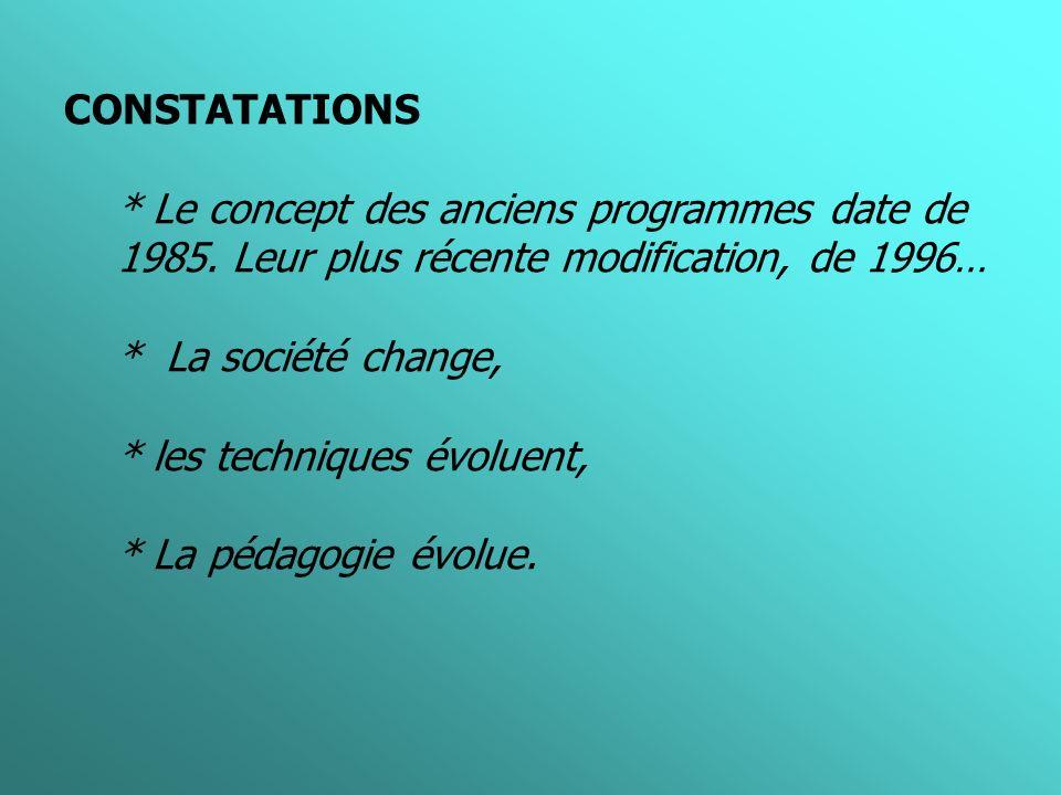 CONSTATATIONS * Le concept des anciens programmes date de 1985.