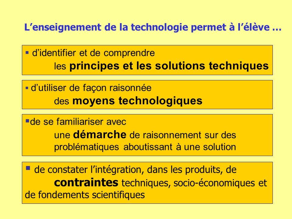 Lenseignement de la technologie permet à lélève … didentifier et de comprendre les principes et les solutions techniques de se familiariser avec une démarche de raisonnement sur des problématiques aboutissant à une solution dutiliser de façon raisonnée des moyens technologiques de constater lintégration, dans les produits, de contraintes techniques, socio-économiques et de fondements scientifiques