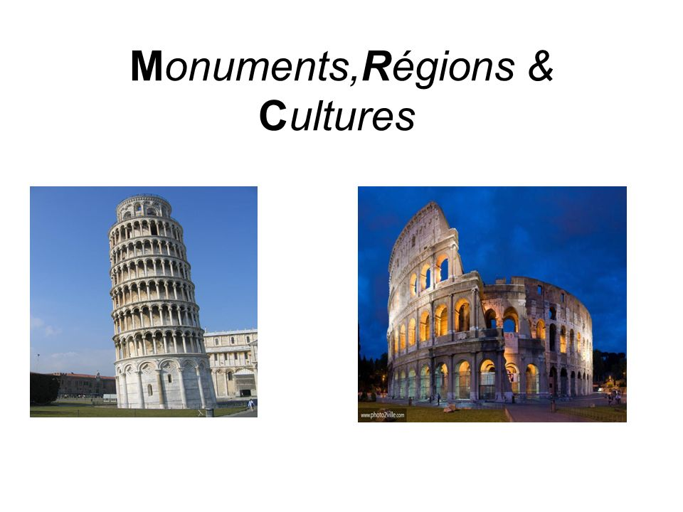 Le pays comprend plusieurs monuments antiques tels que : La Tour de Pise qui a été édifiée entre 1170 & 1350, elle mesure 55 mètres de haut.Après lachèvement du 3° étage elle a commencée a sincliner.