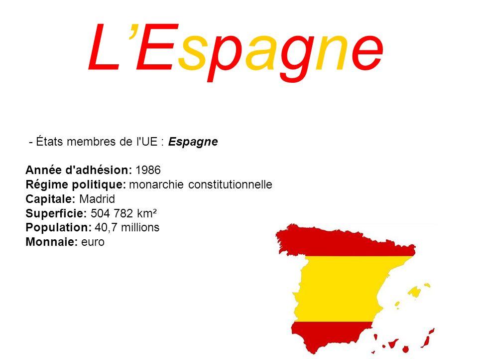 LEspagne - États membres de l'UE : Espagne Année d'adhésion: 1986 Régime politique: monarchie constitutionnelle Capitale: Madrid Superficie: 504 782 k