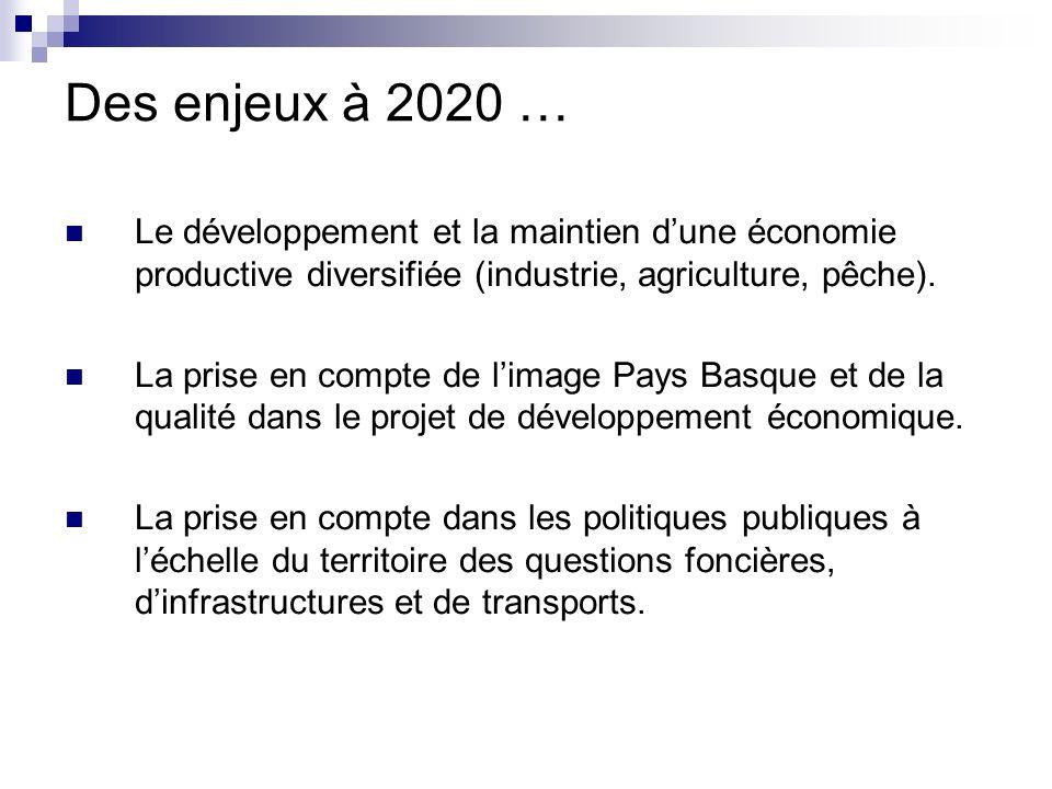 Des enjeux à 2020 … Le développement et la maintien dune économie productive diversifiée (industrie, agriculture, pêche).