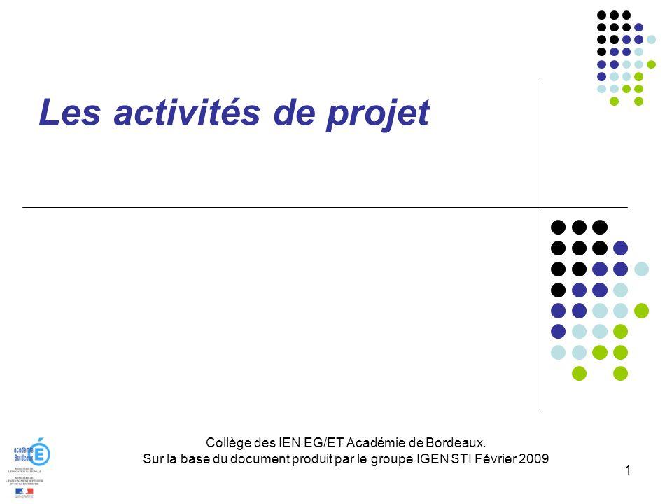 Collège des IEN EG/ET Académie de Bordeaux. Sur la base du document produit par le groupe IGEN STI Février 2009 1 Les activités de projet