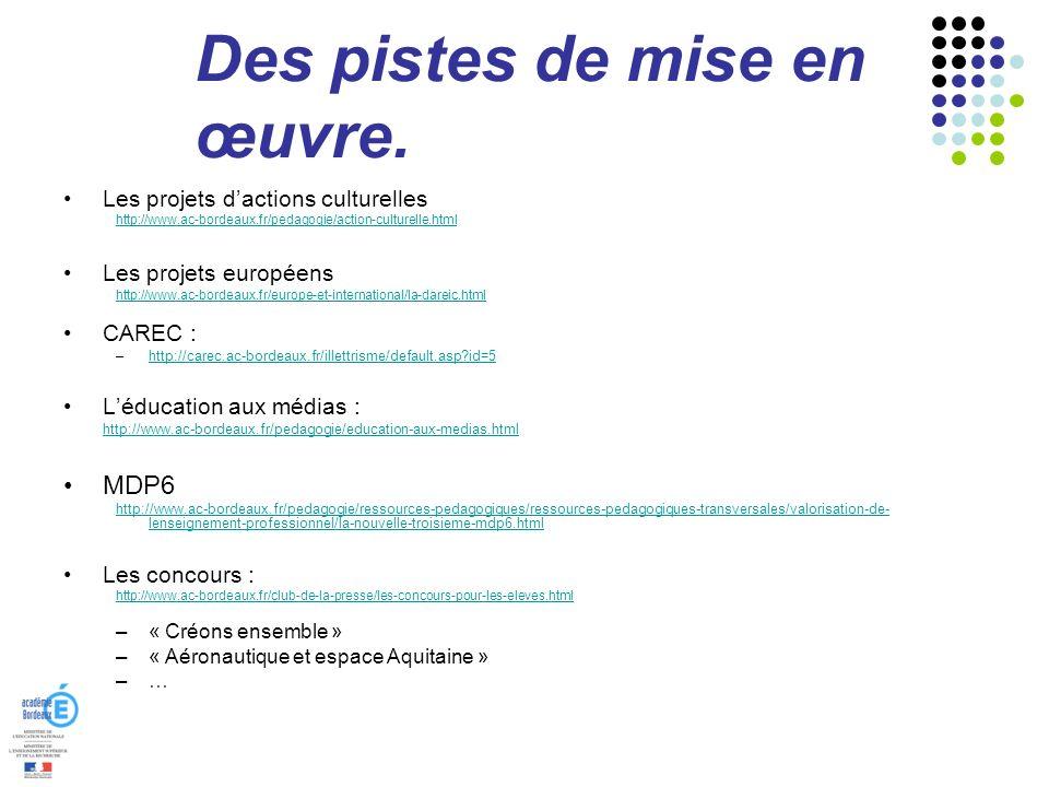 Des pistes de mise en œuvre. Les projets dactions culturelles http://www.ac-bordeaux.fr/pedagogie/action-culturelle.html Les projets européens http://