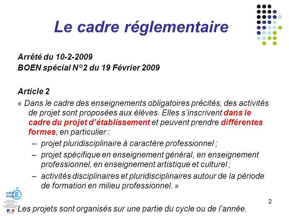 Le cadre réglementaire Arrêté du 10-2-2009 BOEN spécial N°2 du 19 Février 2009 Article 2 « Dans le cadre des enseignements obligatoires précités, des