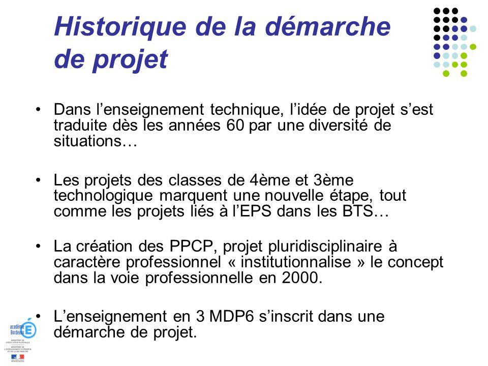 Historique de la démarche de projet Dans lenseignement technique, lidée de projet sest traduite dès les années 60 par une diversité de situations… Les