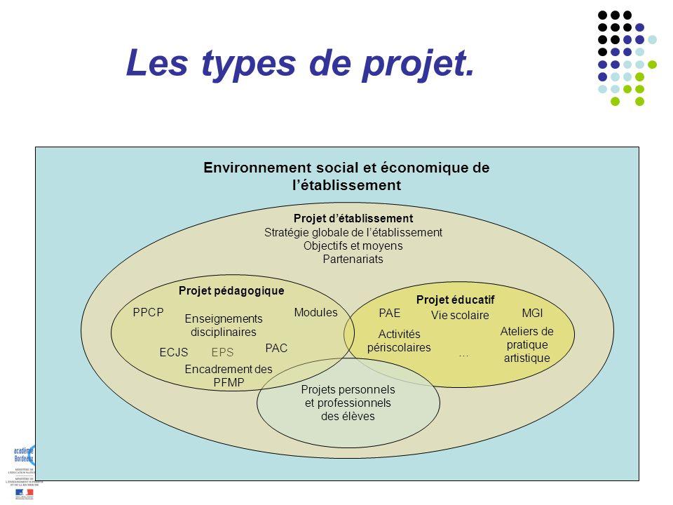Les types de projet. Projet détablissement Stratégie globale de létablissement Objectifs et moyens Partenariats … Projet éducatif PAE Vie scolaire MGI