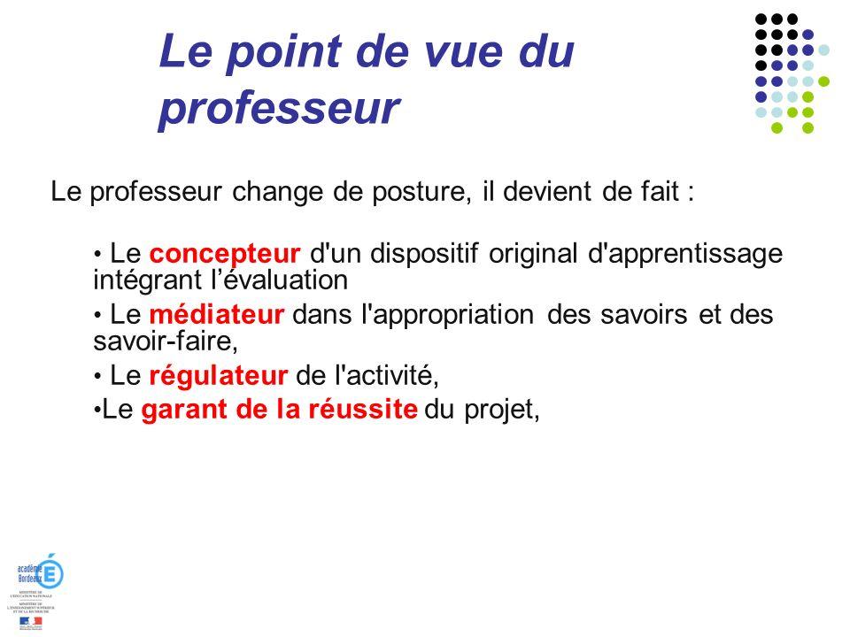 Le point de vue du professeur Le professeur change de posture, il devient de fait : Le concepteur d'un dispositif original d'apprentissage intégrant l