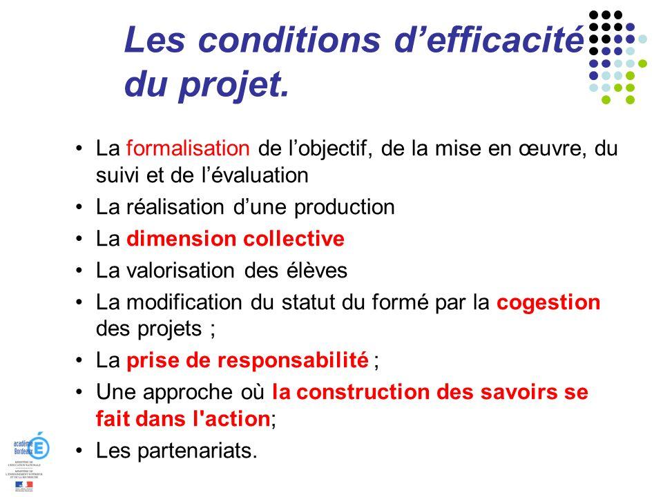 Les conditions defficacité du projet. La formalisation de lobjectif, de la mise en œuvre, du suivi et de lévaluation La réalisation dune production La
