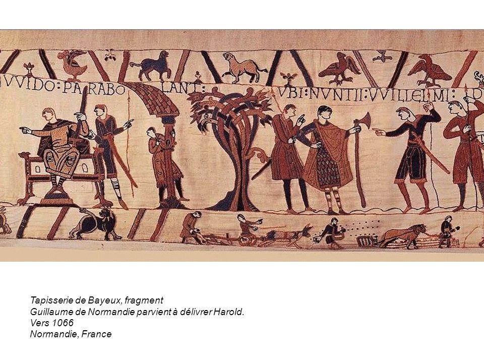 Tapisserie de Bayeux, fragment Guillaume de Normandie parvient à délivrer Harold. Vers 1066 Normandie, France