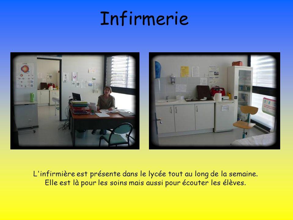 Infirmerie L'infirmière est présente dans le lycée tout au long de la semaine. Elle est là pour les soins mais aussi pour écouter les élèves.