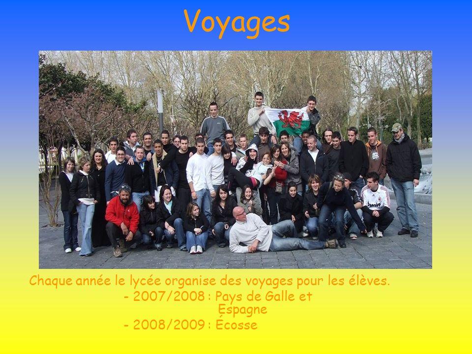 Voyages Chaque année le lycée organise des voyages pour les élèves. - 2007/2008 : Pays de Galle et Espagne - 2008/2009 : Écosse