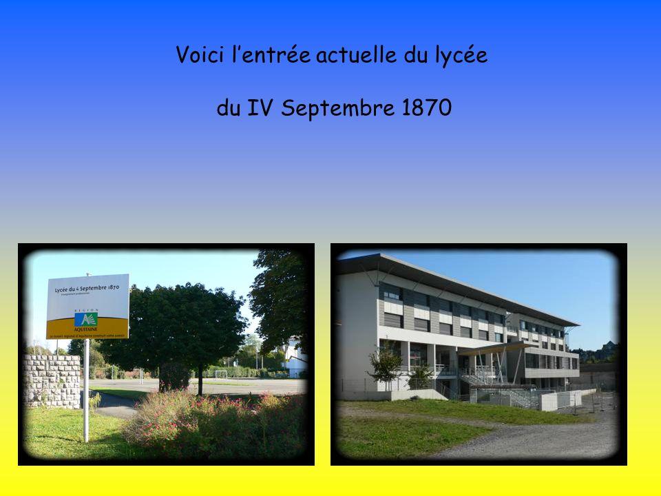 Voici lentrée actuelle du lycée du IV Septembre 1870