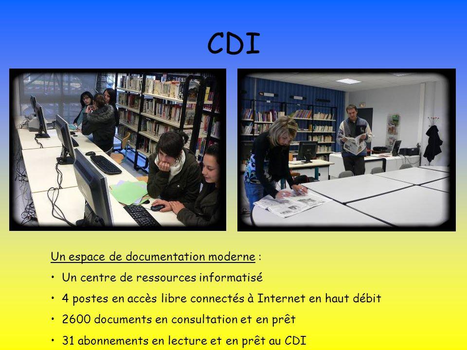CDI Un espace de documentation moderne : Un centre de ressources informatisé 4 postes en accès libre connectés à Internet en haut débit 2600 documents