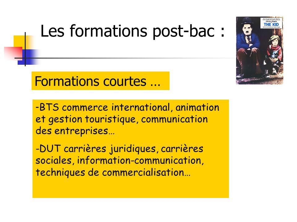 Les formations post-bac : - BTS commerce international, animation et gestion touristique, communication des entreprises… -DUT carrières juridiques, carrières sociales, information-communication, techniques de commercialisation… Formations courtes …