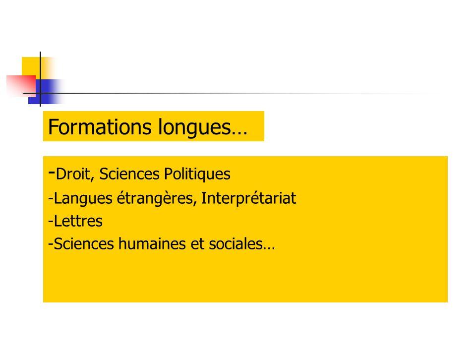 - Droit, Sciences Politiques -Langues étrangères, Interprétariat -Lettres -Sciences humaines et sociales… Formations longues…