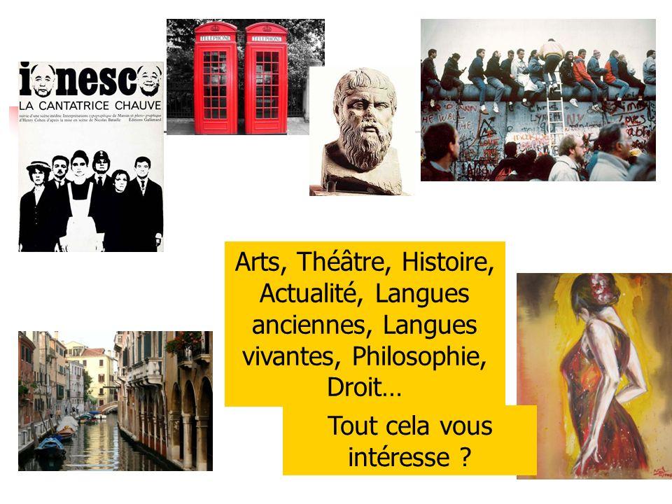 Arts, Théâtre, Histoire, Actualité, Langues anciennes, Langues vivantes, Philosophie, Droit… Tout cela vous intéresse