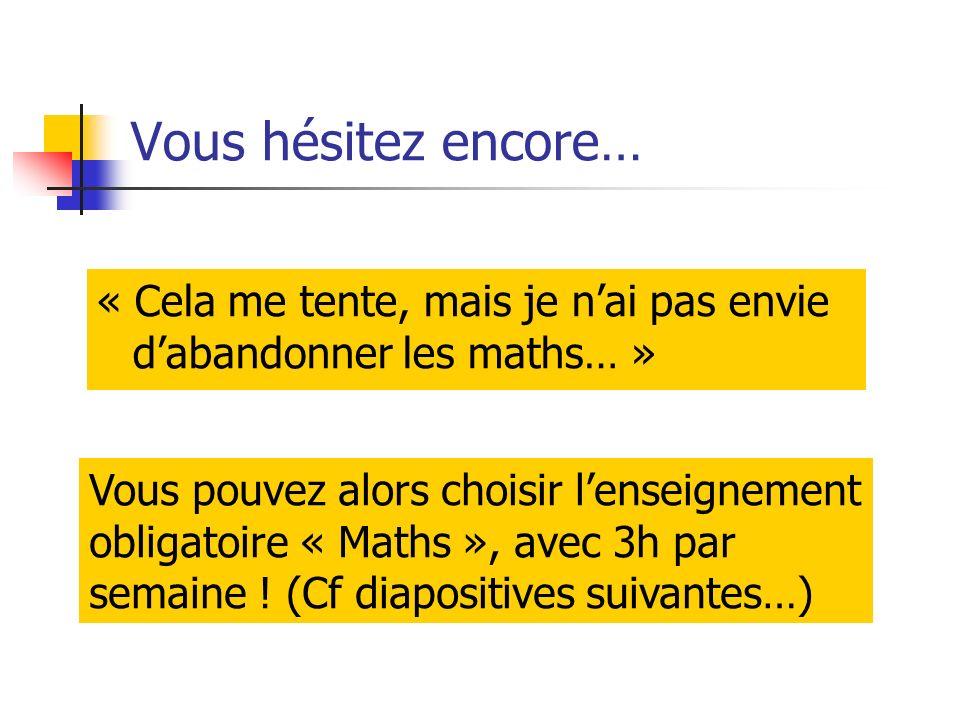 Vous hésitez encore… « Cela me tente, mais je nai pas envie dabandonner les maths… » Vous pouvez alors choisir lenseignement obligatoire « Maths », avec 3h par semaine .