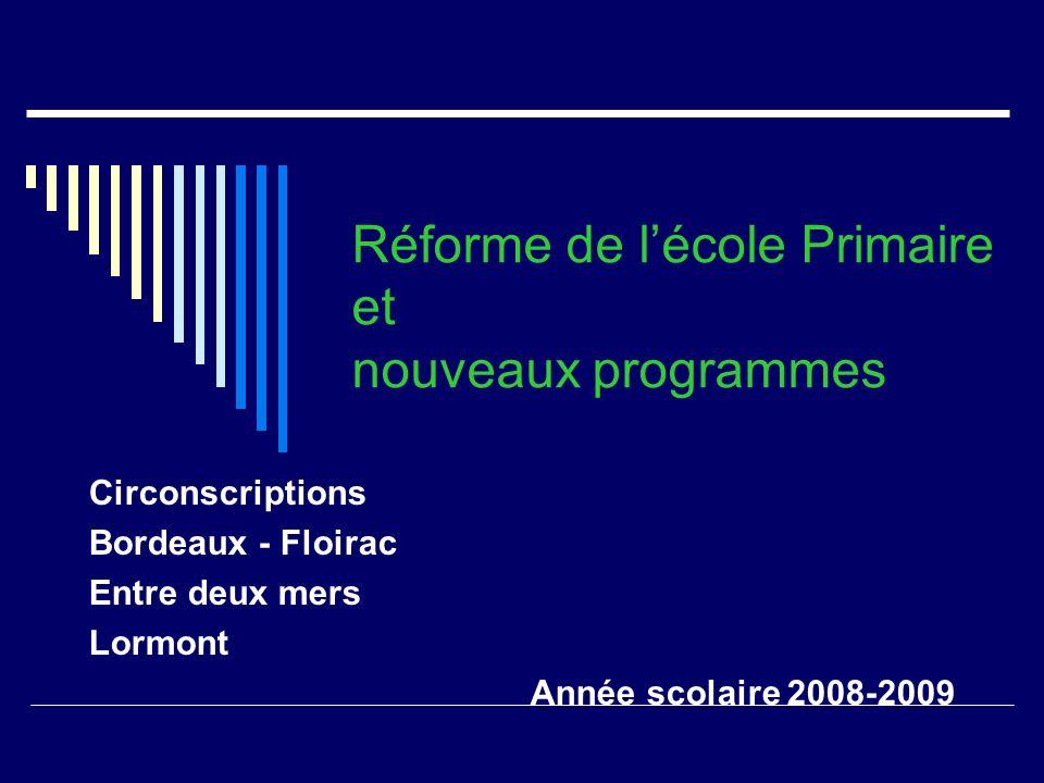 Réforme de lécole Primaire et nouveaux programmes Circonscriptions Bordeaux - Floirac Entre deux mers Lormont Année scolaire 2008-2009