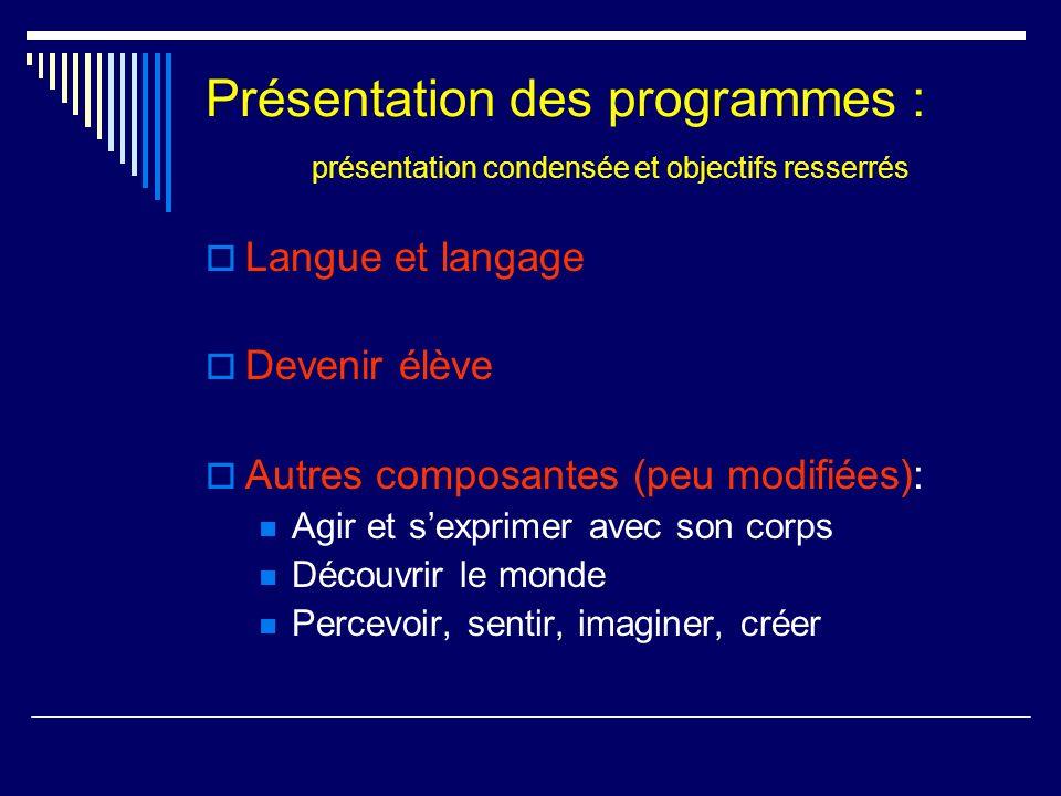 Présentation des programmes : présentation condensée et objectifs resserrés Langue et langage Devenir élève Autres composantes (peu modifiées): Agir e