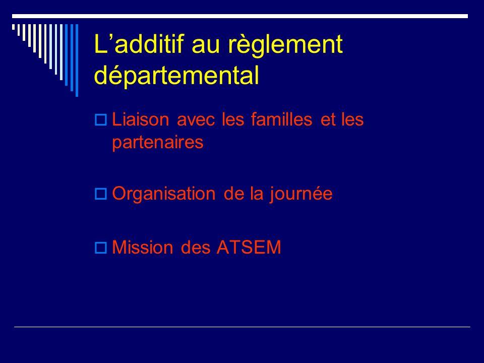 Ladditif au règlement départemental Liaison avec les familles et les partenaires Organisation de la journée Mission des ATSEM