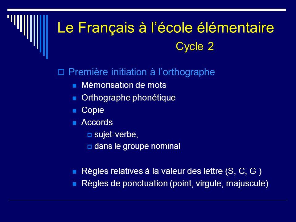 Le Français à lécole élémentaire Cycle 2 Première initiation à lorthographe Mémorisation de mots Orthographe phonétique Copie Accords sujet-verbe, dan