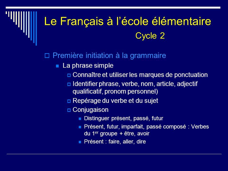 Le Français à lécole élémentaire Cycle 2 Première initiation à la grammaire La phrase simple Connaître et utiliser les marques de ponctuation Identifi