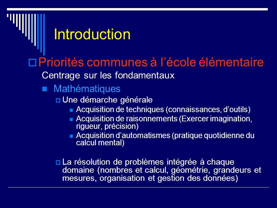 Introduction Priorités communes à lécole élémentaire Centrage sur les fondamentaux Mathématiques Une démarche générale Acquisition de techniques (conn