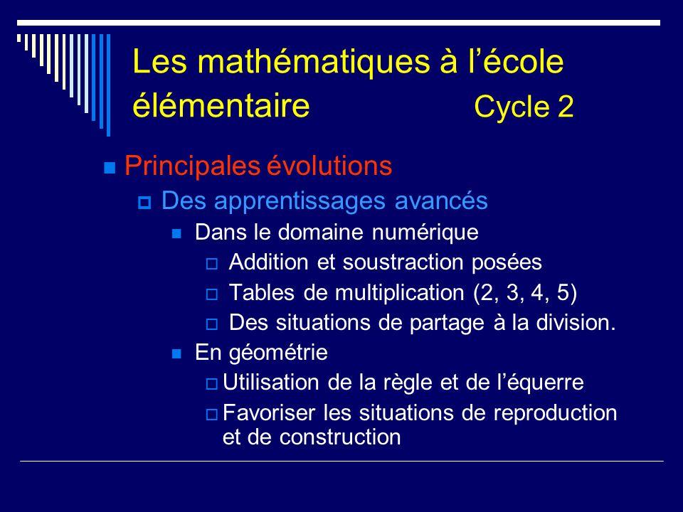 Les mathématiques à lécole élémentaire Cycle 2 Principales évolutions Des apprentissages avancés Dans le domaine numérique Addition et soustraction po