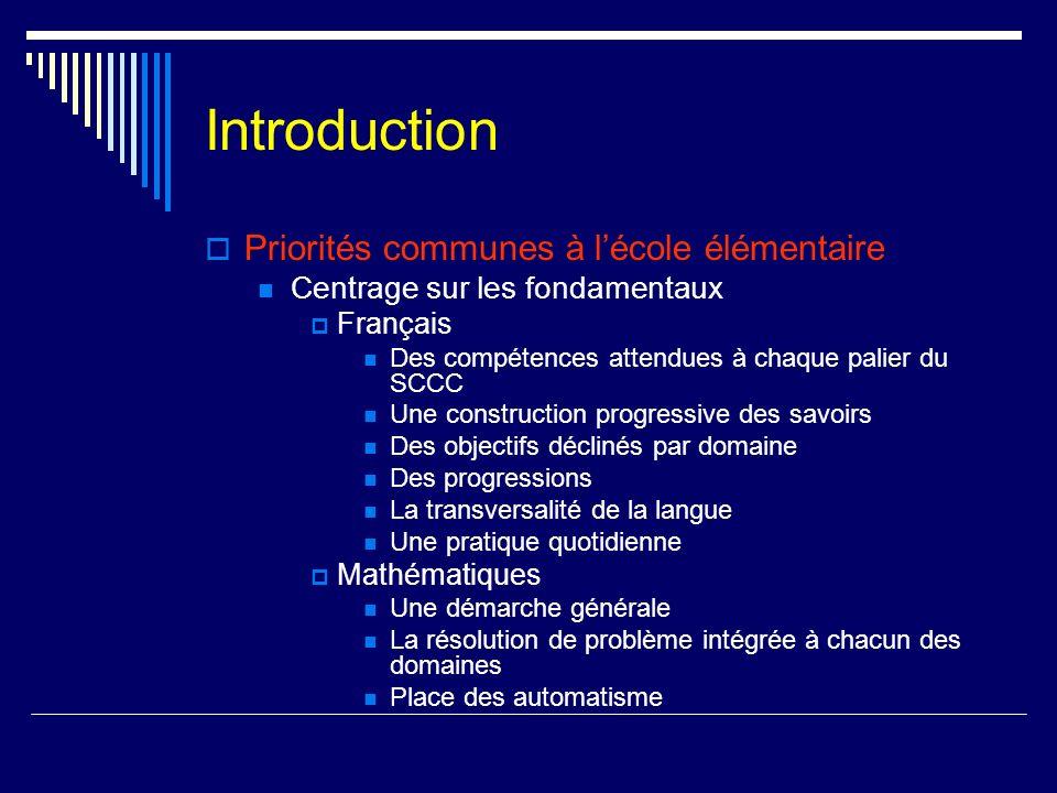 Introduction Priorités communes à lécole élémentaire Centrage sur les fondamentaux Français Des compétences attendues à chaque palier du SCCC Une cons