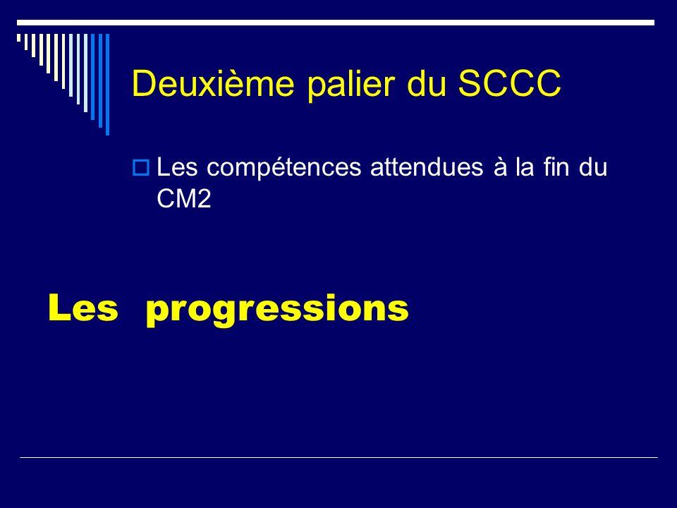 Deuxième palier du SCCC Les compétences attendues à la fin du CM2 Les progressions