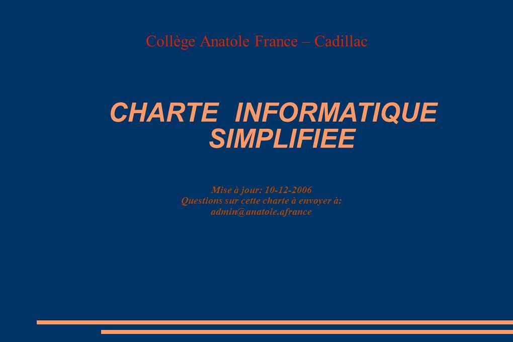 Collège Anatole France – Cadillac Mise à jour: 10-12-2006 Questions sur cette charte à envoyer à: admin@anatole.afrance CHARTE INFORMATIQUE SIMPLIFIEE