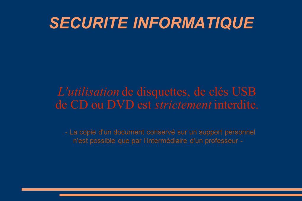 SECURITE INFORMATIQUE L utilisation de disquettes, de clés USB de CD ou DVD est strictement interdite.