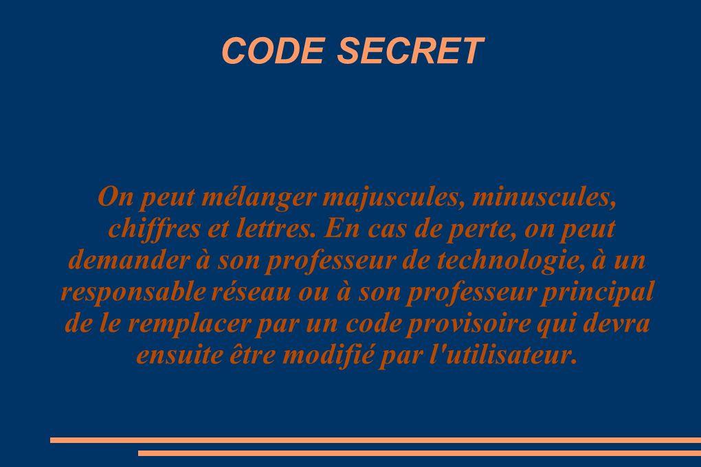 CODE SECRET On peut mélanger majuscules, minuscules, chiffres et lettres.