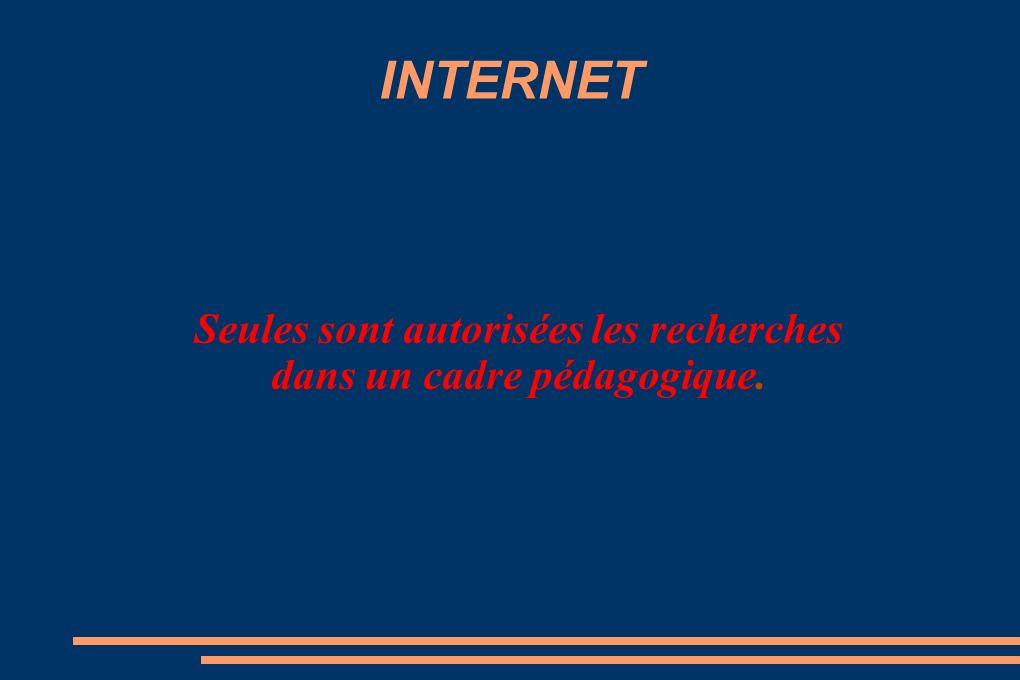 INTERNET Seules sont autorisées les recherches dans un cadre pédagogique.