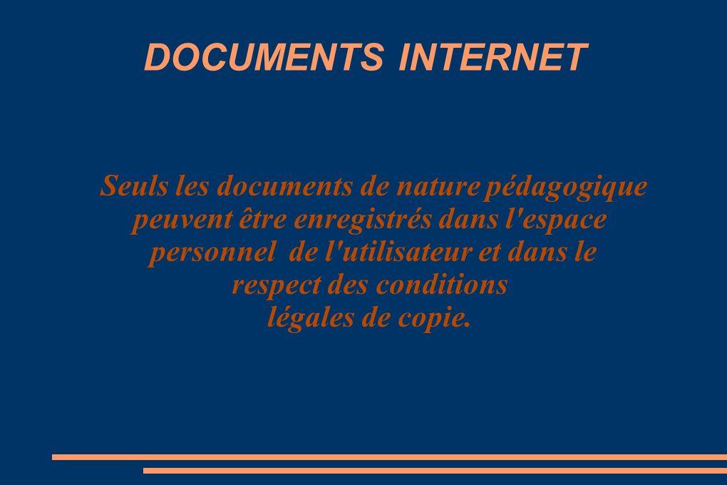 DOCUMENTS INTERNET Seuls les documents de nature pédagogique peuvent être enregistrés dans l espace personnel de l utilisateur et dans le respect des conditions légales de copie.