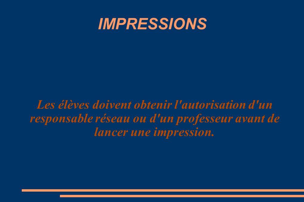 IMPRESSIONS Les élèves doivent obtenir l autorisation d un responsable réseau ou d un professeur avant de lancer une impression.