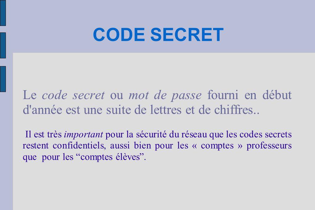 PERTE DU CODE SECRET Les élèves doivent coller (ou écrire) ce code dans leur carnet de correspondance, cahier de textes...
