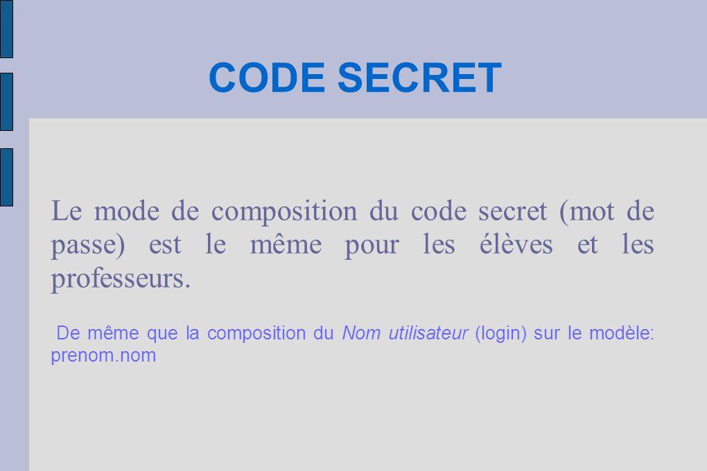 CODE SECRET Les utilisateurs (professeurs ou élèves) qui avaient déjà un code lannée précédente le conserve inchangé.
