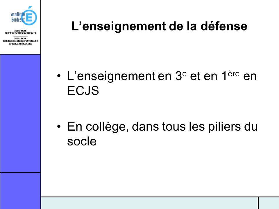 Lenseignement de la défense Lenseignement en 3 e et en 1 ère en ECJS En collège, dans tous les piliers du socle